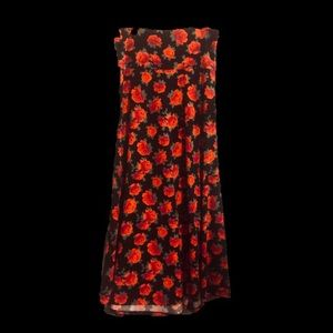 Dramatic red rose floral Lularoe Maxi skirt Sz XL